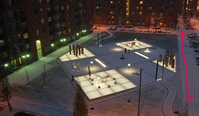 Lighting of the sidewalk next to Tapio Wirkkala Park