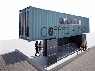 Coffee shop with bicycle garage