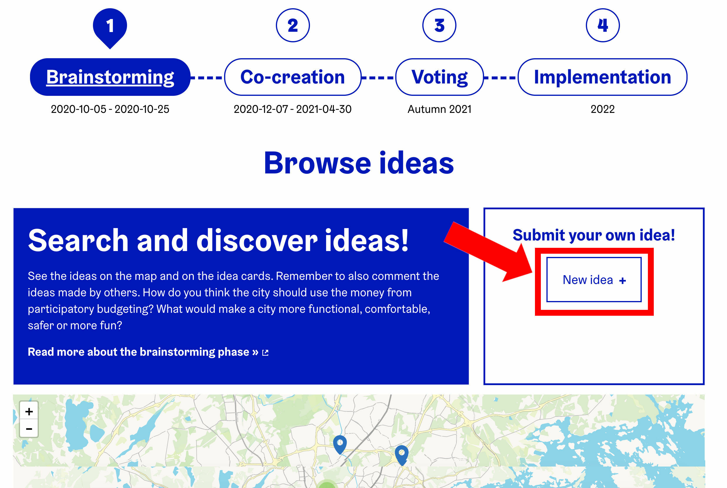 'New idea' button on the 'Brainstorming' page