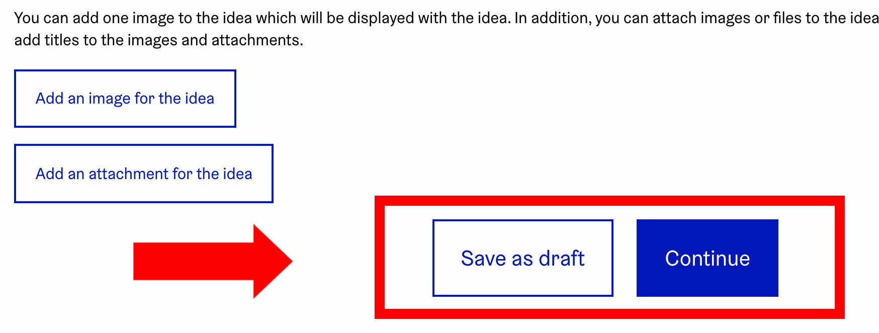 'Save as draft' button and 'Continue' button