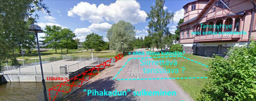 Yksi ehdotus tilavasta, siirrettävästä tanssialusta Oulunkylän Seurahuoneelle