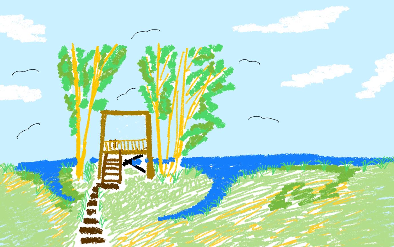 Lintujen katselulava/torni Iso Huopalahden lintupaikalle