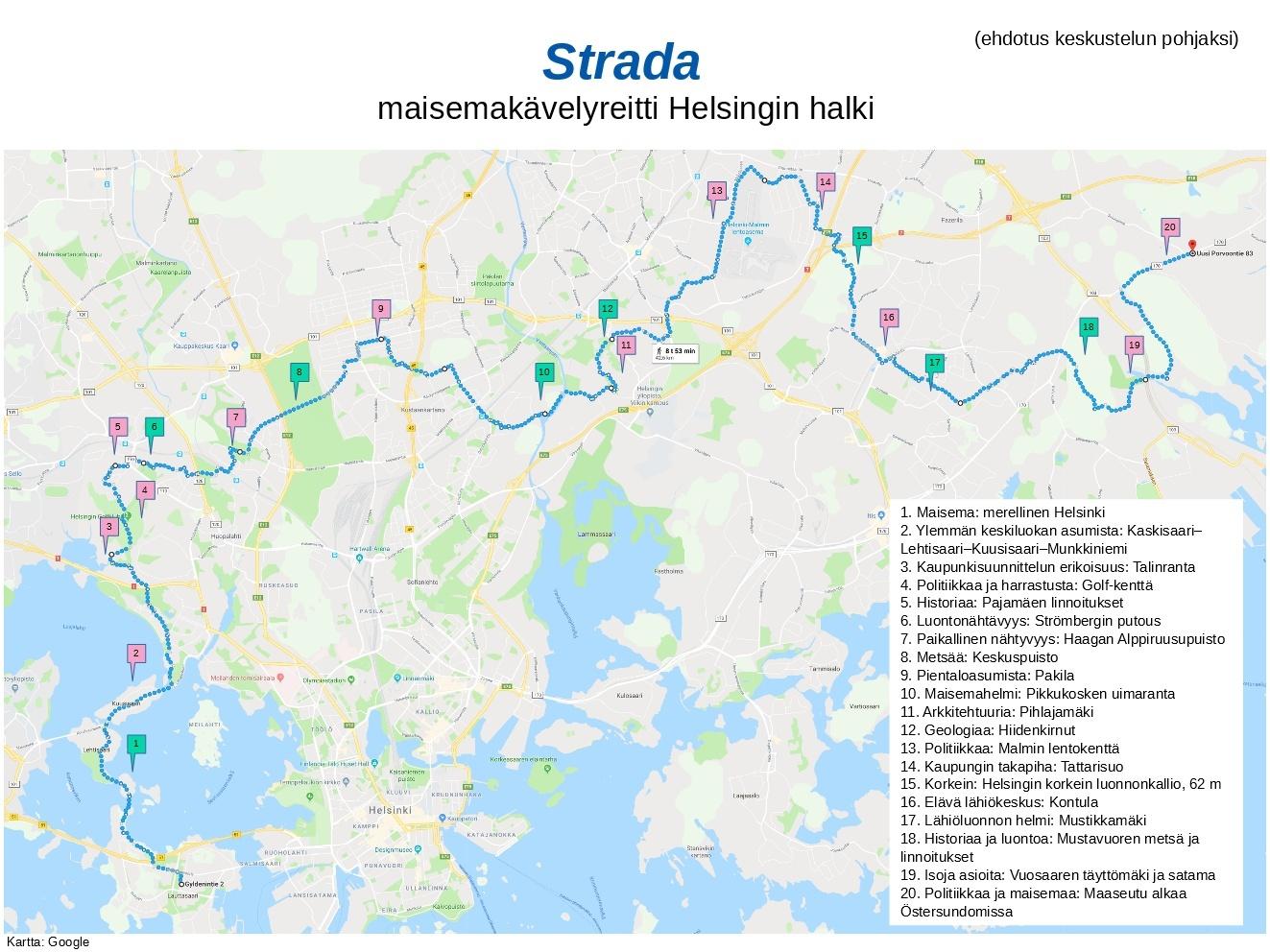 Strada – maisemakävelyreitti Helsingin halki