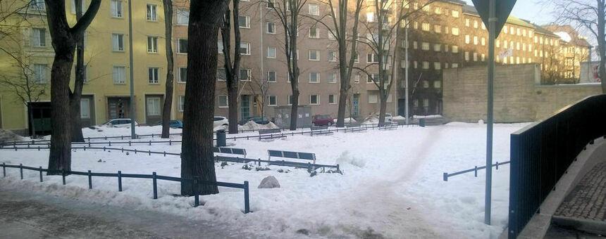 Sadat ihmiset oikaisevat päivittäin puiston poikki.