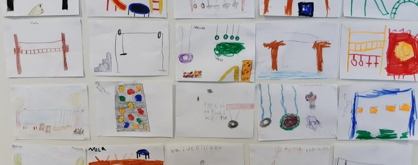 Lasten suunnittelemia laitteita.