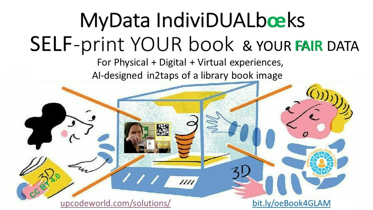 MyData IndiviDUALbooks: any global library book > Accessible, FREE home-delivered in2taps of book cover at a library web page. Touch&stream YOUR book!