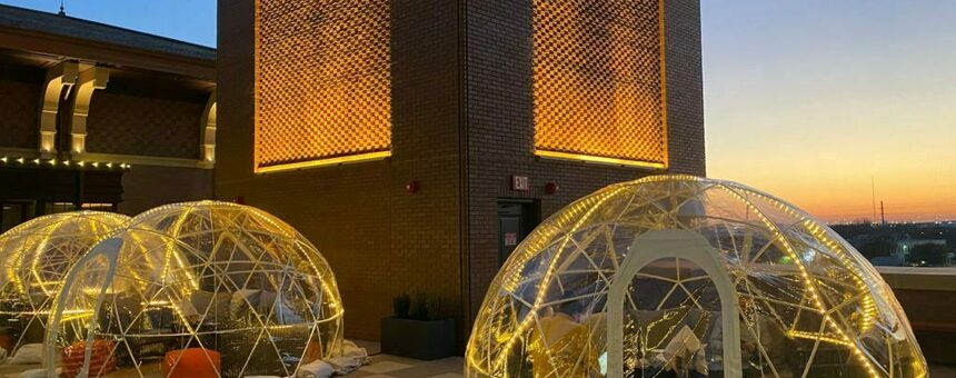 Book Igloos (https://www.papercitymag.com/restaurants/hotel-vin-grapevine-inflatable-igloo-bubbles-rooftop-bar/#324677)