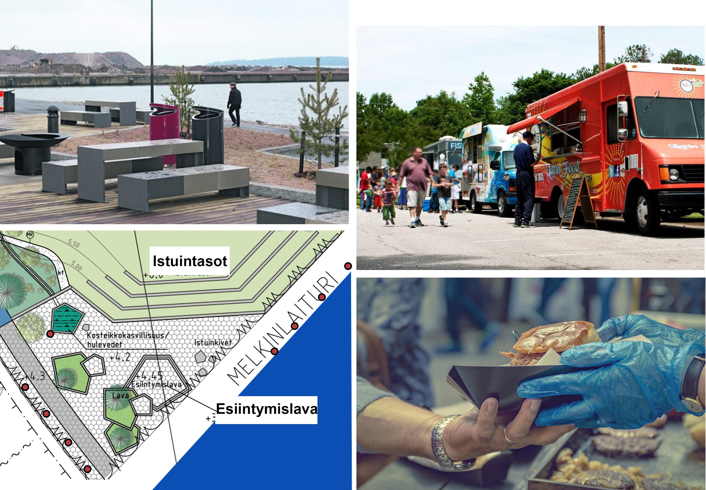 Street food sekä ulkoruokailumahdollisuuksia Etelä-Helsingin uuden virkistysalueen ja uimarannan yhteyteen