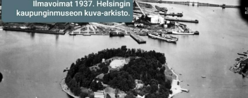 Sompasaari ja Sörnäisten satama v. 1937. Kuva: Ilmavoimat, Helsingin kaupunginmuseon kuva-arkisto.