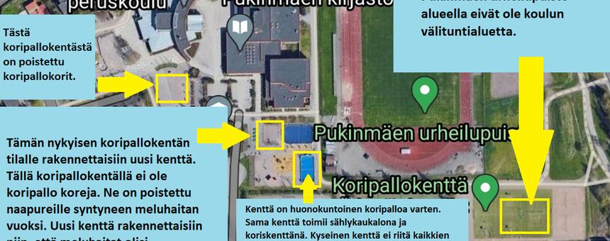 Ilmakuva koulun ympäristöstä ja jo olemassa olevista kentistä.