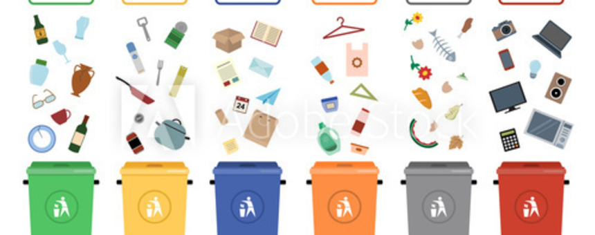 Waste sorting (https://stock.adobe.com/uk/images/garbage-cans-vector-flat-illustrations-sorting-garbage-ecology-and-recycle-concept-trash-cans-isolated-on-white-background/107553591)