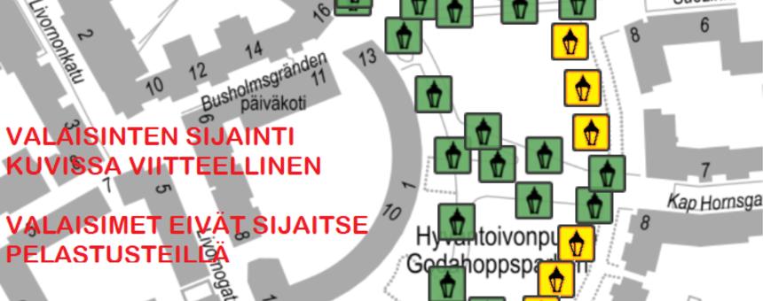 Hyväntoivonpuiston nykyiset valaisimet (vihreä) ja uudet pylväsvalaisimet (keltainen). Sijainti ja lukumäärä kartassa ovat viitteelliset. Valaisimia ei tule pelastustielle.
