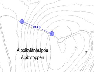 Kuntoportaiden sijainti Alppikylänhuipulla
