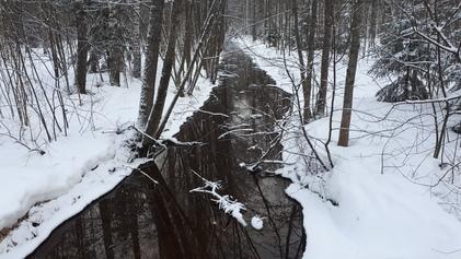 Puro kävelytien sillalta pohjoiseen päin Broändassa.