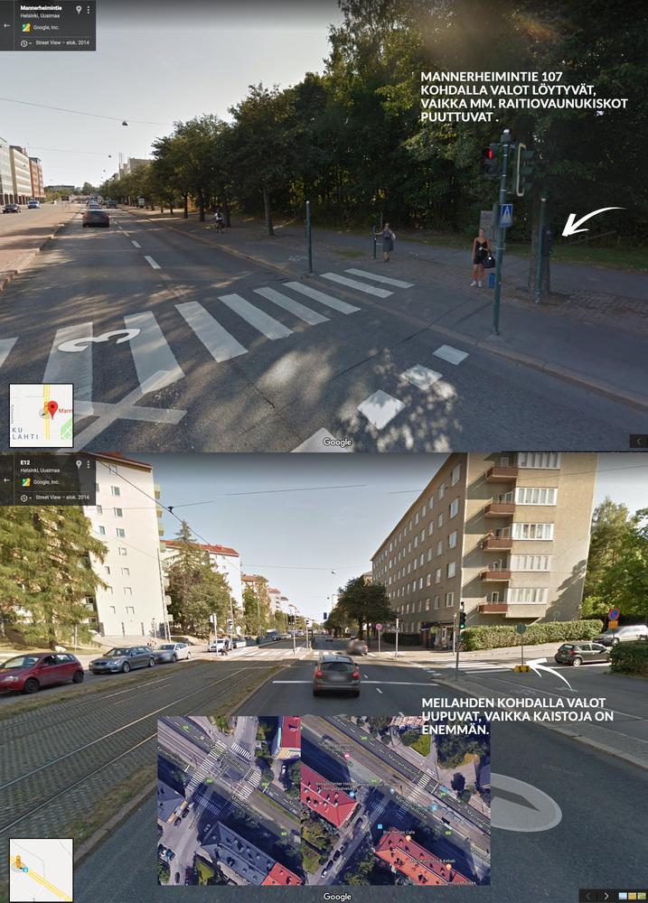 Pyöräilijöille liikennevalot Meilahden kohdalle Mannerheimintiellä