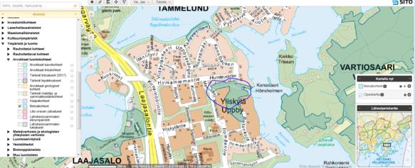 Karttakuva Yliskylän alueesta