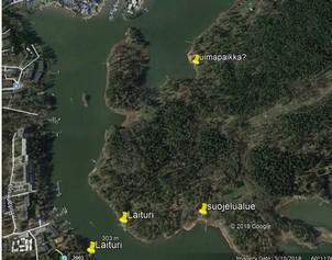 Vartiosaaren mahdollinen uimapaikka ja pienvenevalkama