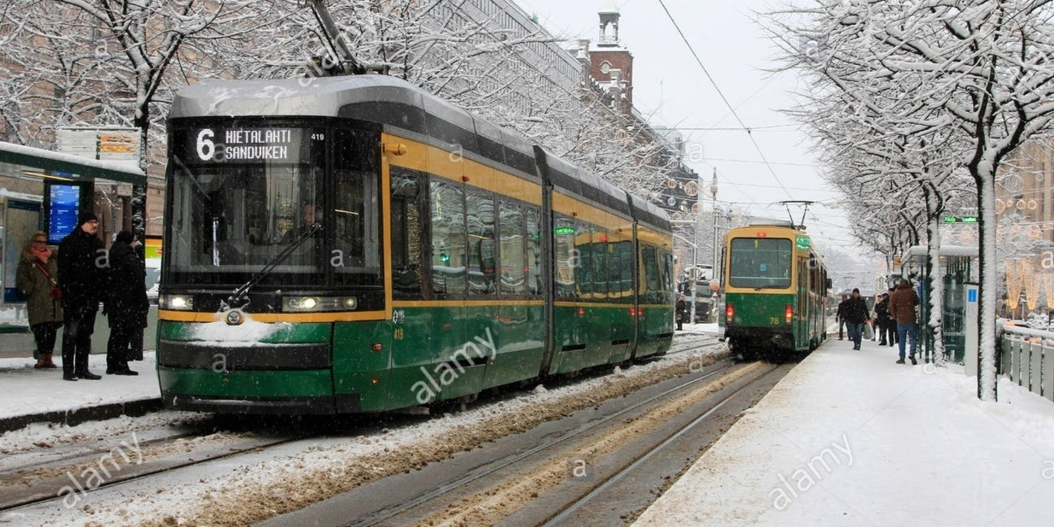 Tram stop in Helsinki. Photo: Helsinki People Winter Stock Photos and Images https://www.alamy.com/stock-photo/helsinki-people-winter.html