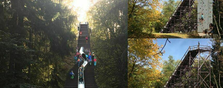 Kuntoportaat, liukumäki, kiipeily, näkötorni Keskuspuistoon Ruskeasuon hyppyrimäen paikalle